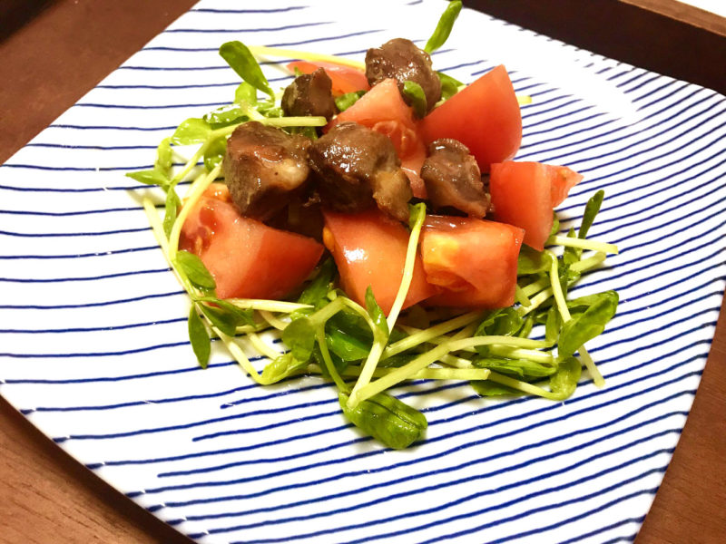砂肝と豆苗のトマトマリネ