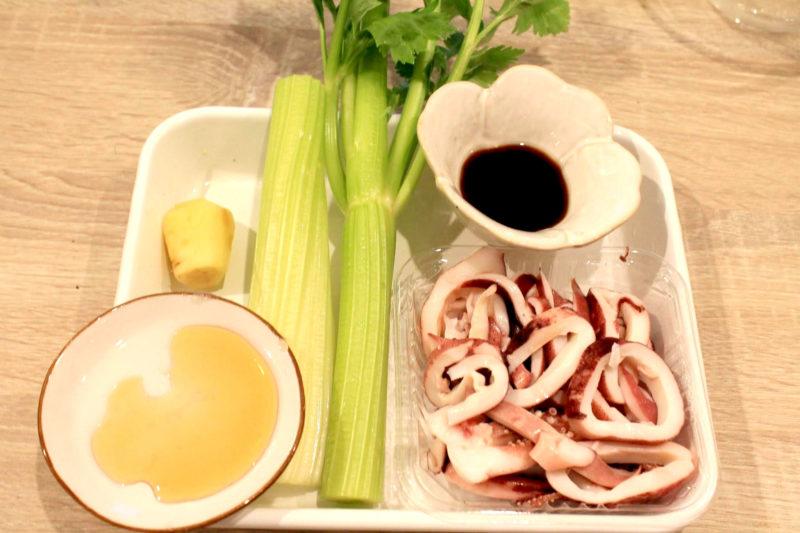 いかとセロリの生姜炒め-材料