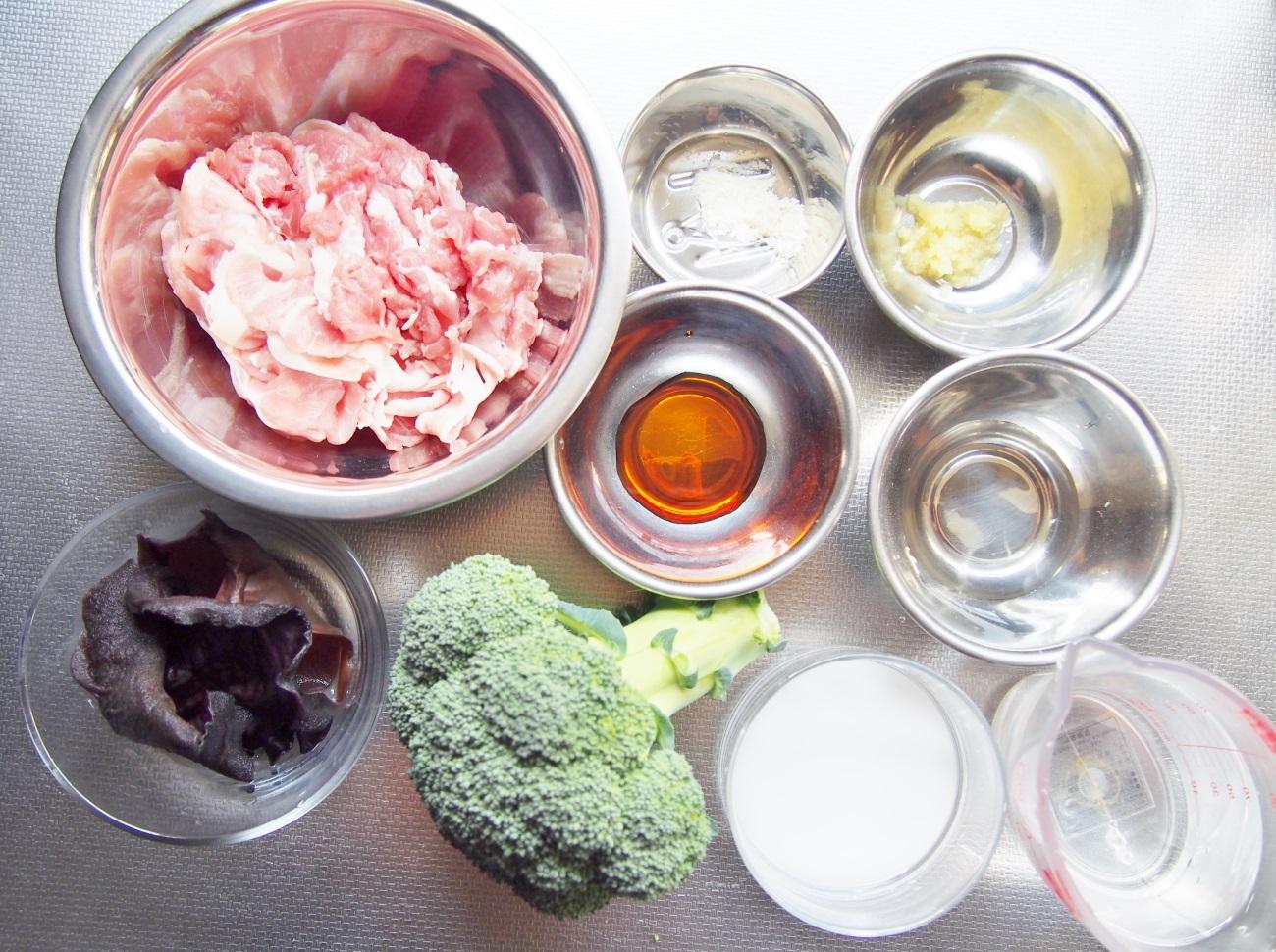 豚肉とブロッコリーの中華あんかけ-材料