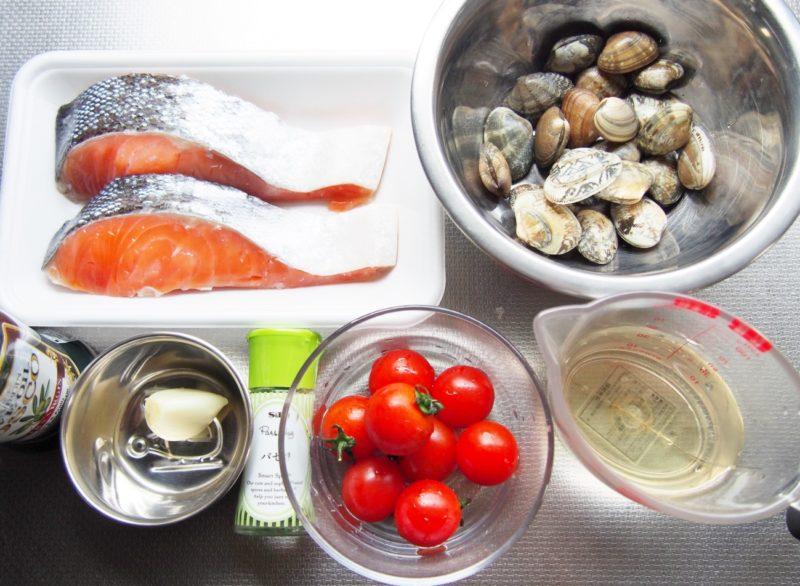 鮭のアクアパッツァ風-材料
