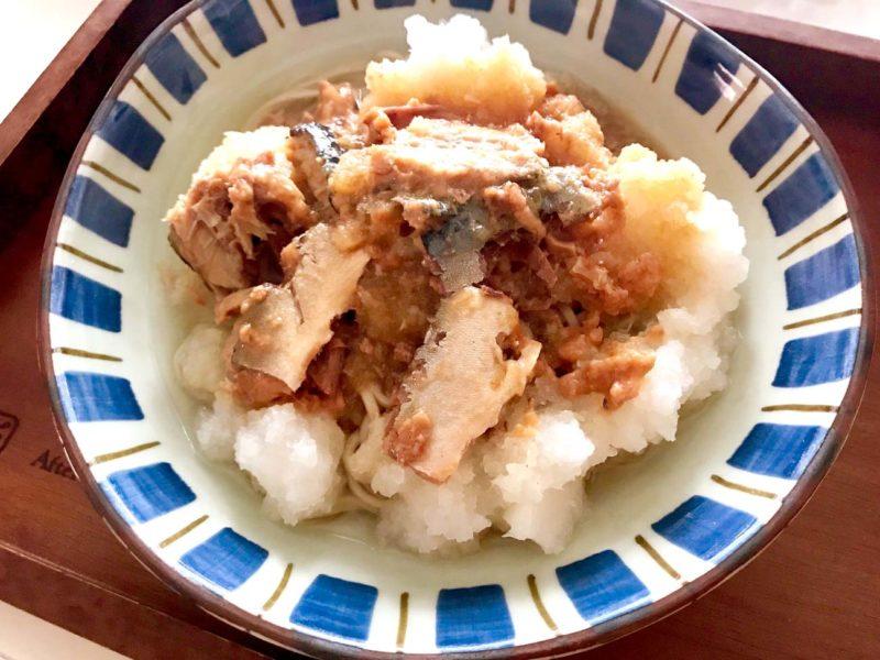 鯖と大根おろしのピリ辛蕎麦