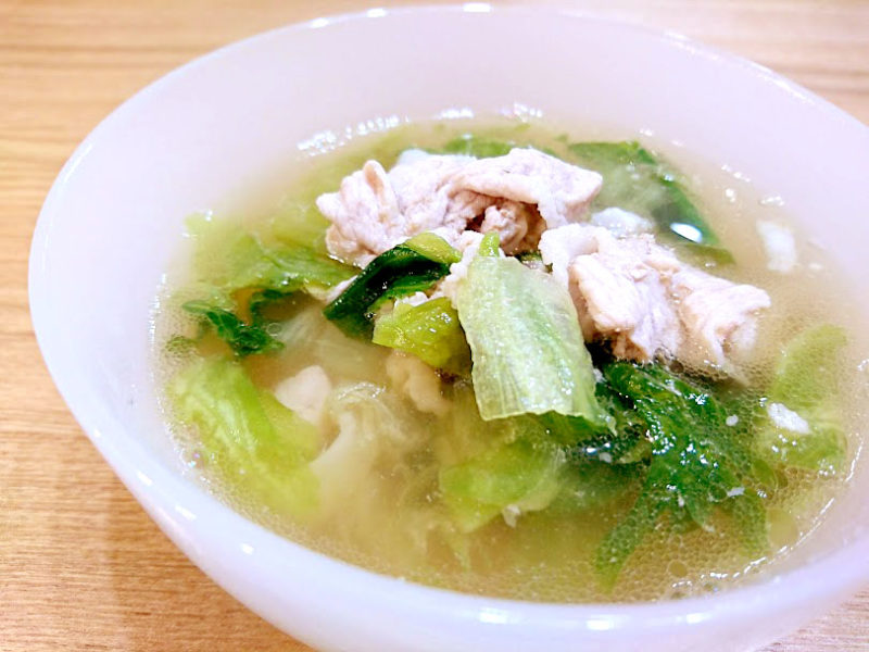 豚肉とレタスのガーリックスープ