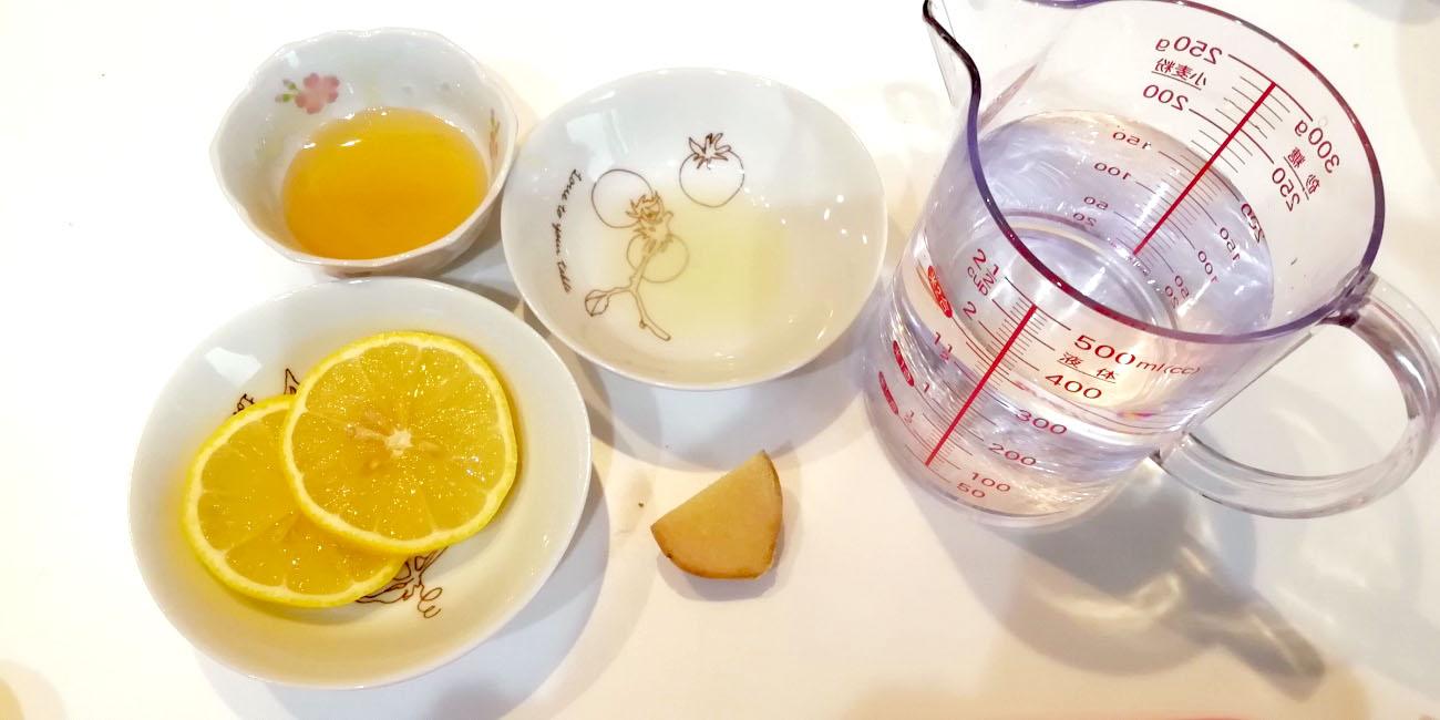 ホットはちみつジンジャーレモン-材料