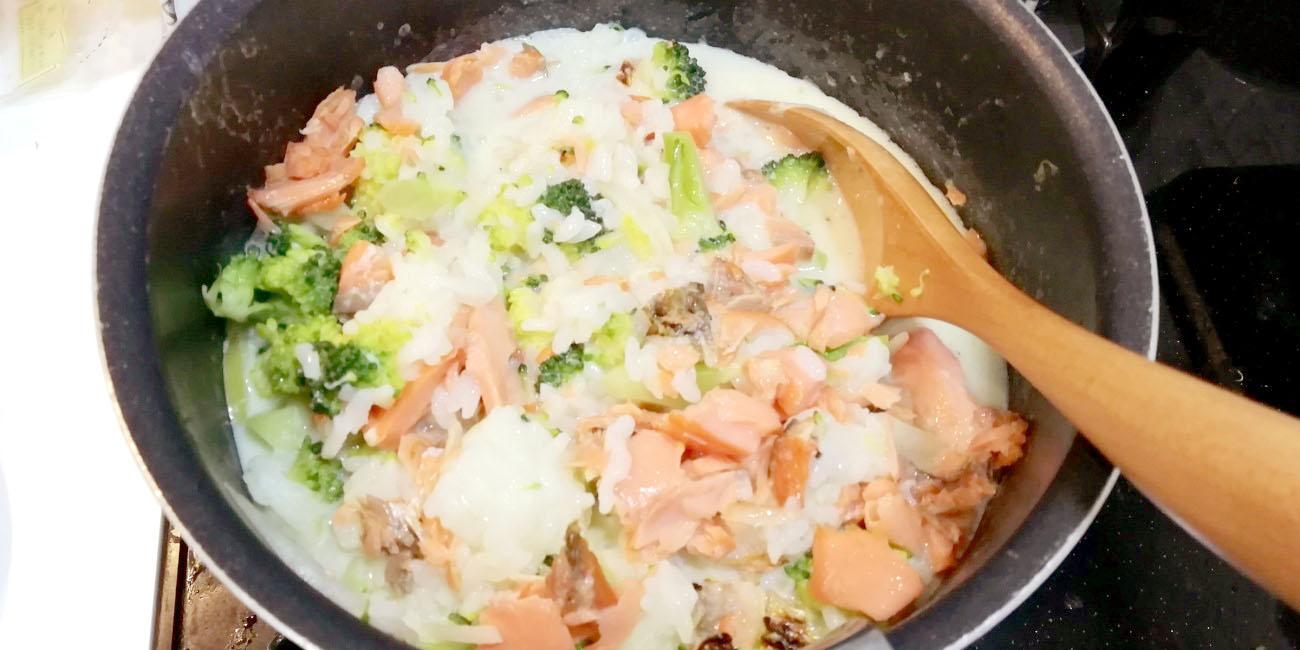 鮭とコーンの豆乳リゾット③