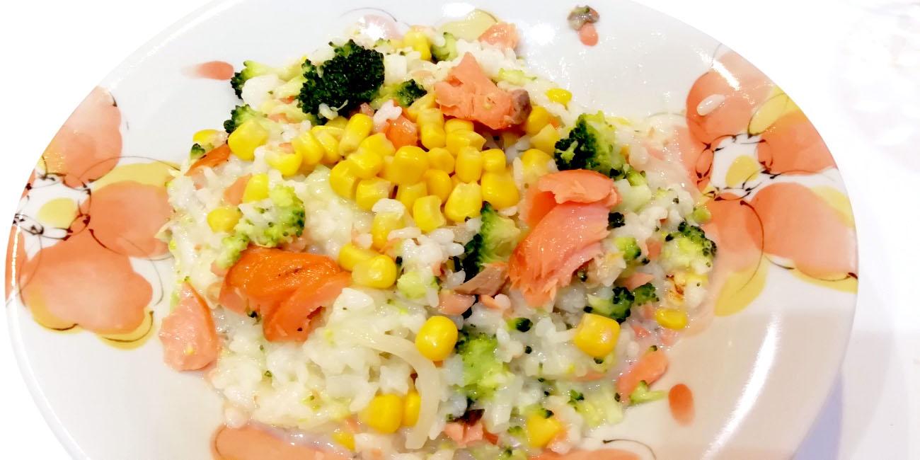 鮭とコーンの豆乳リゾット-完成