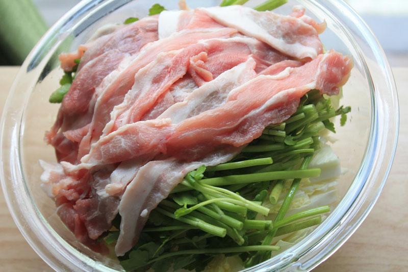 白菜と豚肉のレンジ蒸し③