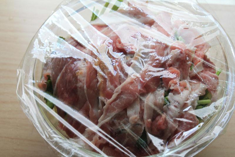 白菜と豚肉のレンジ蒸し⑤