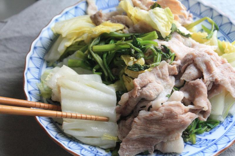 白菜と豚肉のレンジ蒸し-完成