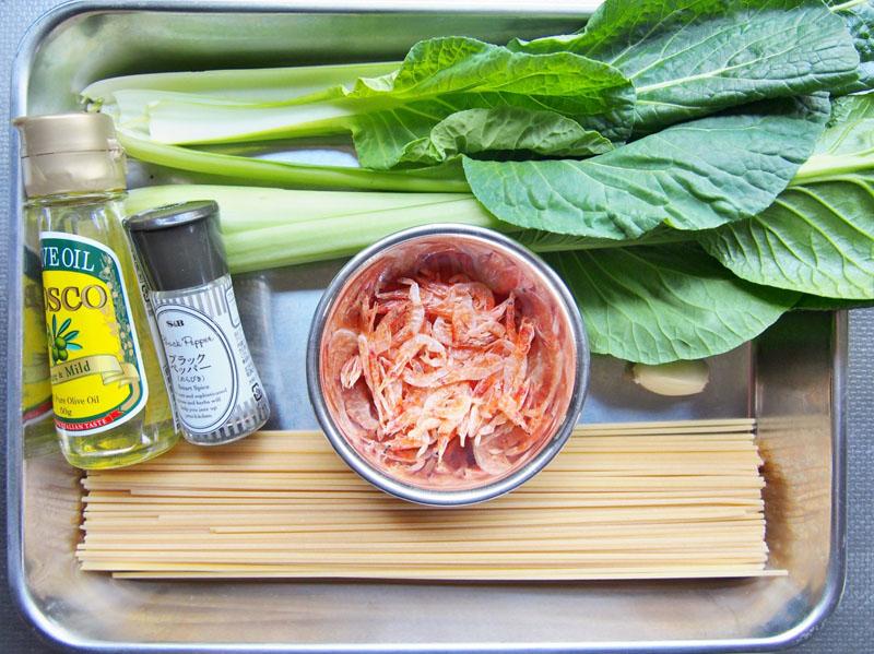 小松菜と桜えびのパスタ-材料