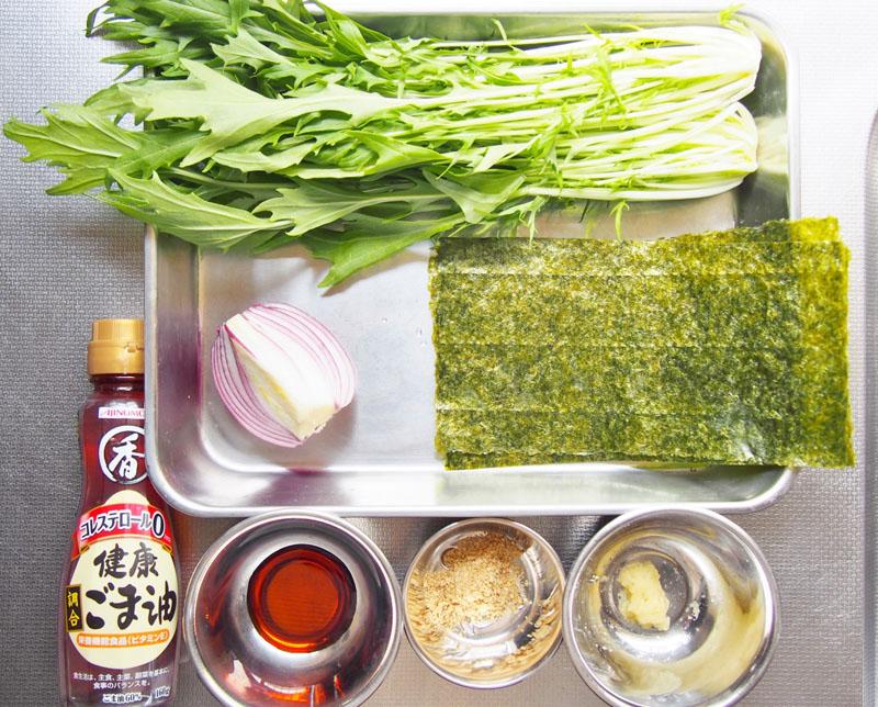 水菜と赤玉ねぎのチョレギサラダ-材料