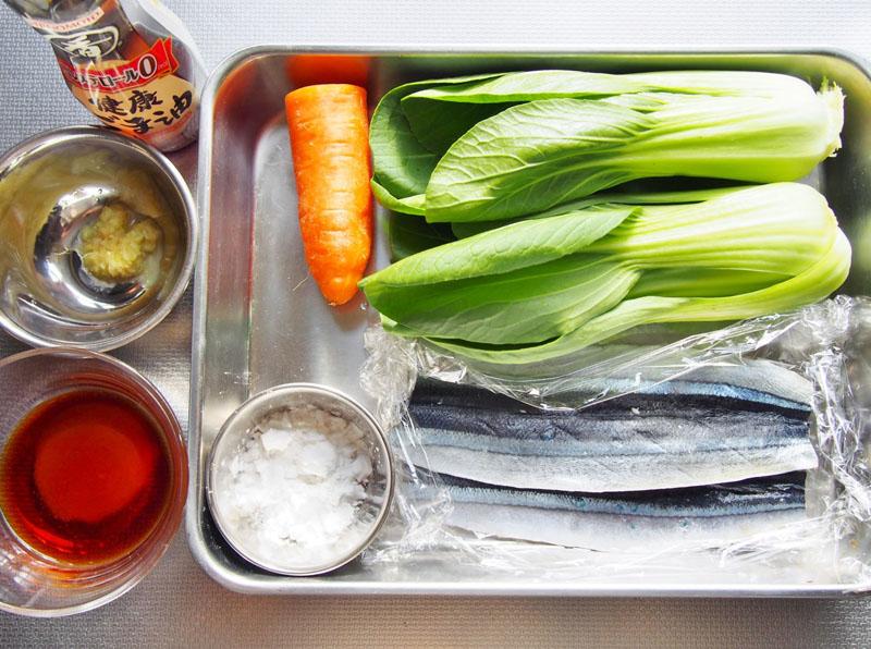サンマとチンゲン菜の甘辛炒め-材料