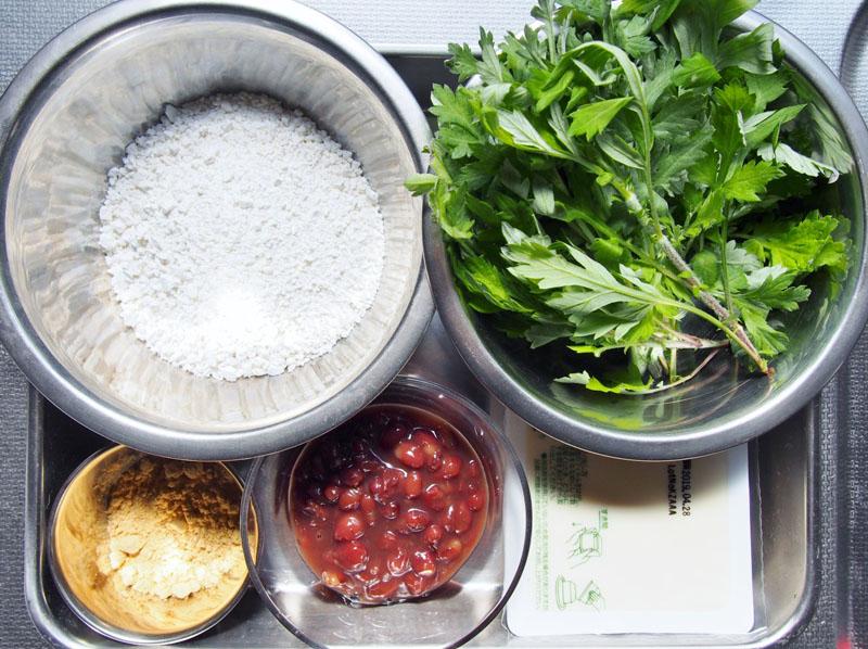 よもぎの豆腐白玉-材料