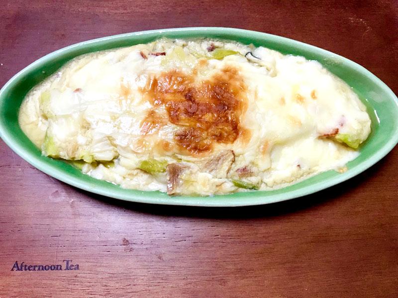 キャベツとほうれん草の味噌豆乳グラタン