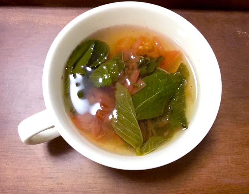 モロヘイヤのトマトスープ