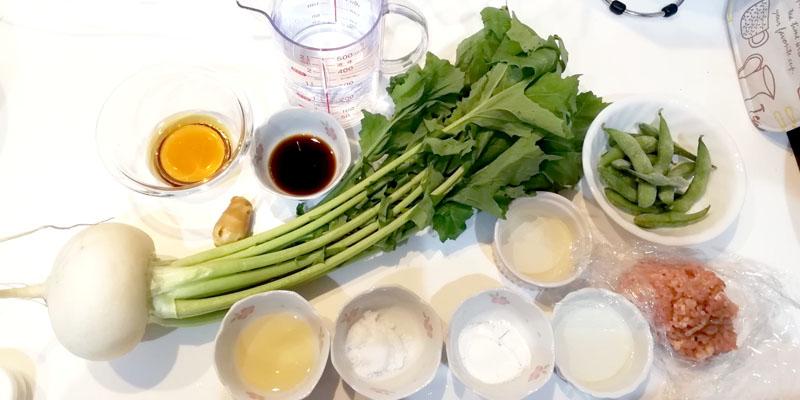 かぶと枝豆の鶏そぼろ煮-材料